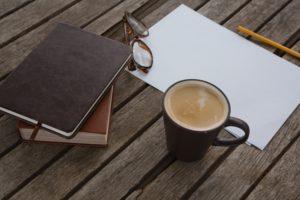 手帳、コーヒー